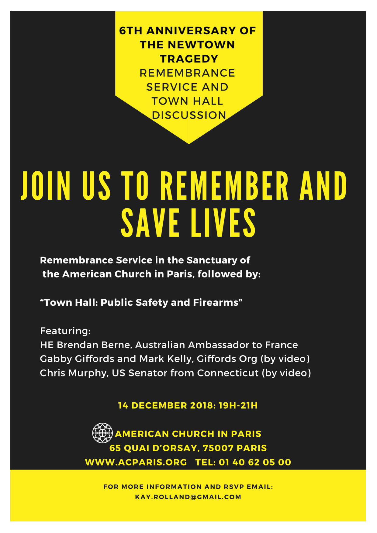 Paris Newtown Commemoration Service: 14 December, 17h in the ACP Sanctuary