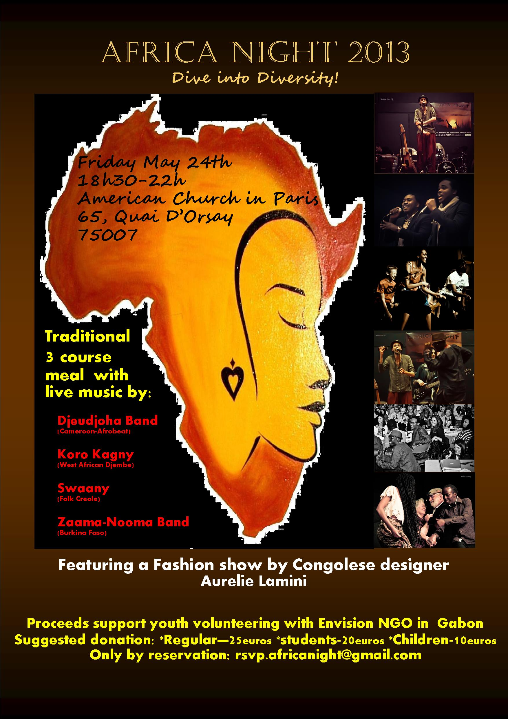 Africa Night — Friday 24 May 18h30 to 22h00 in the ACP Theater